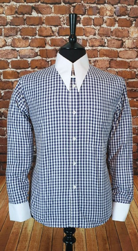 """Penrith"" Gingham White Spear Point Collar & Cuff Shirt"